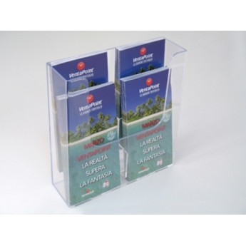 A4 BROCHURE HOLDER 4 POCKETS WALL 1/3 2 LEVELS